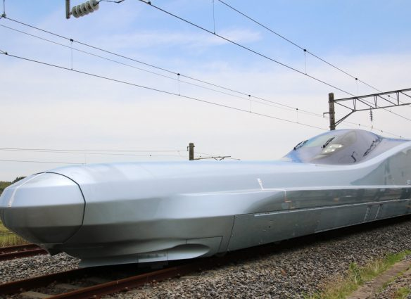 "JR East unveils to the media its new test bullet train ""ALFA-X"" in Rifu, Miyagi prefecture on May 9, 2019. (Photo by JIJI PRESS / JIJI PRESS / AFP) / Japan OUT        (Photo credit should read JIJI PRESS/AFP/Getty Images)"
