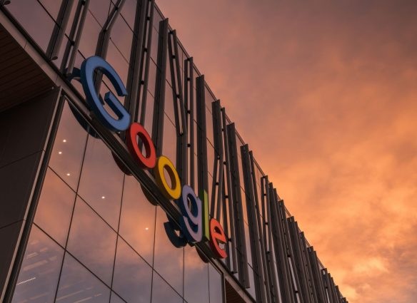 Seattle, USA - Oct 15, 2019: The entrance sign to the new Google building in the south lake union area at sunset.